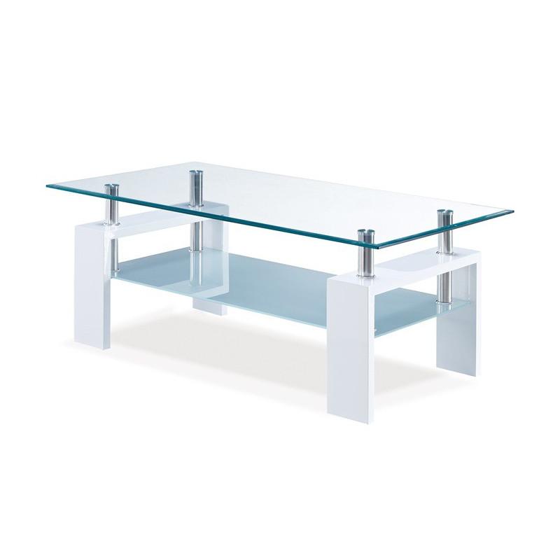 Mesa de centro lacado blanco alto brillo y cristal 110 x 60 cms