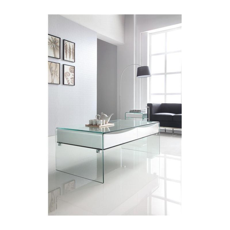 Mesa bach 120 bl baja cristal cajones blancos 120x60 cms for Mesa cristal 120