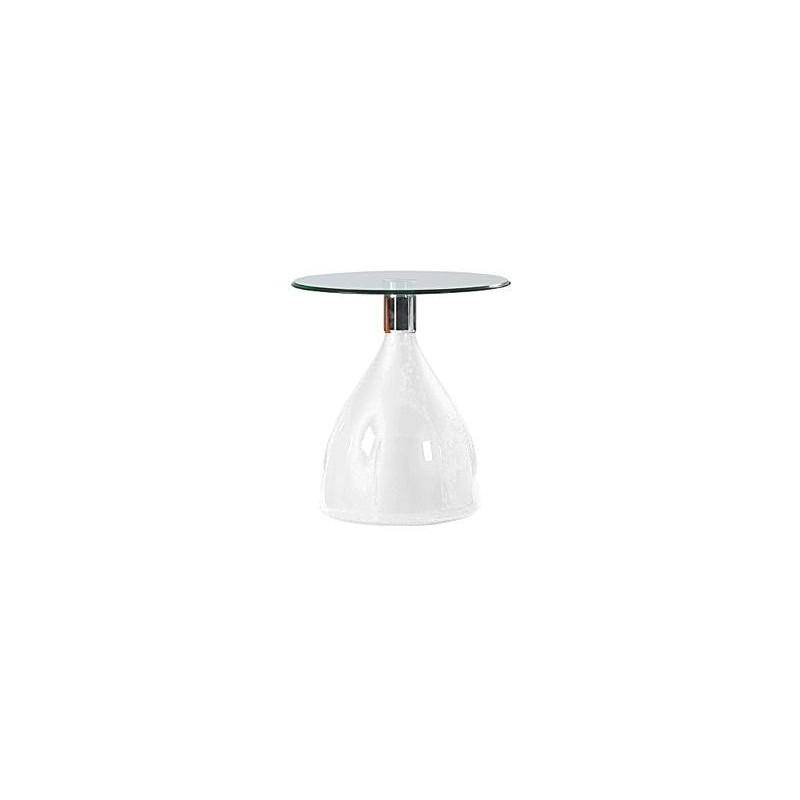 Mesa baja de diseño en ABS y cristal, 50 cms de diámetro