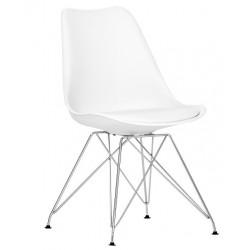 Silla estilo Eiffel color blanco con asiento tapizado en polipiel