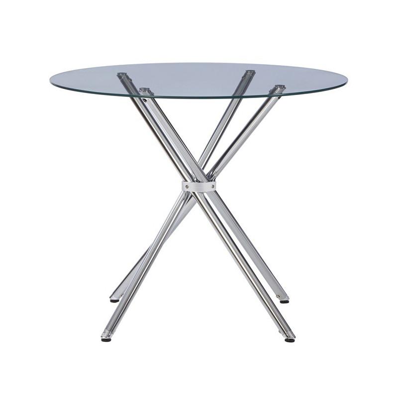 Mesa de diseño cromada con tapa en cristal templado