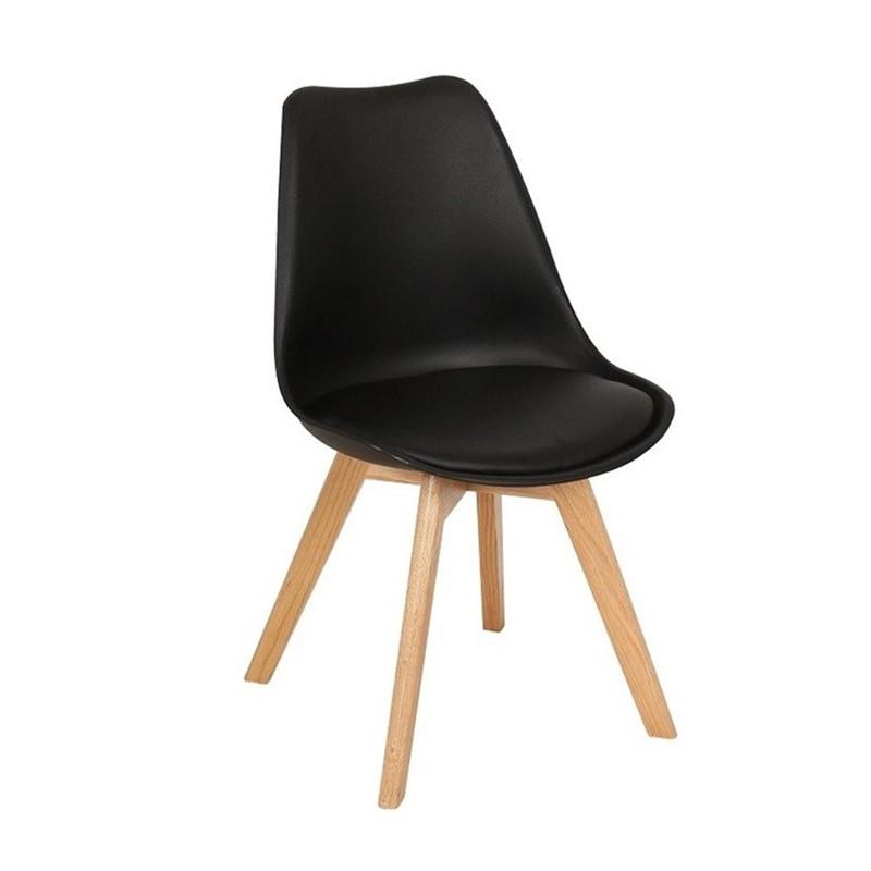 Silla TORRE maciza de Haya y asiento negro