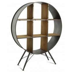 Estantería de estilo retro industrial en madera de abeto y hierro