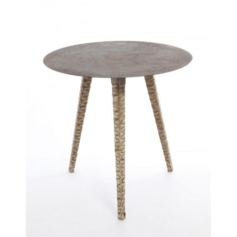 Mesa AFRICA con patas de madera de abeto talladas 76 cms