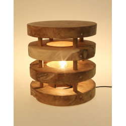 Lampara taburete en madera de teca natural