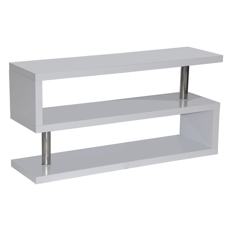 Mueble tv estanter a lacado blanco y acero for Mueble tv lacado blanco
