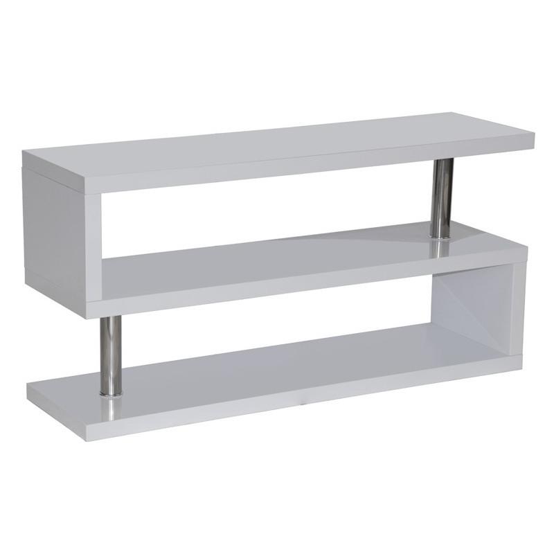 Mueble tv estanter a lacado blanco y acero - Mueble lacado blanco ...