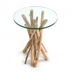 Mesa de cristal con pie de ramas