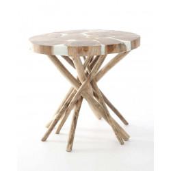 Mesa de Teca y resina con pie de ramas