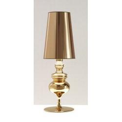 Lámpara LOUVRE-MBL sobremesa de diseño con pantalla dorada