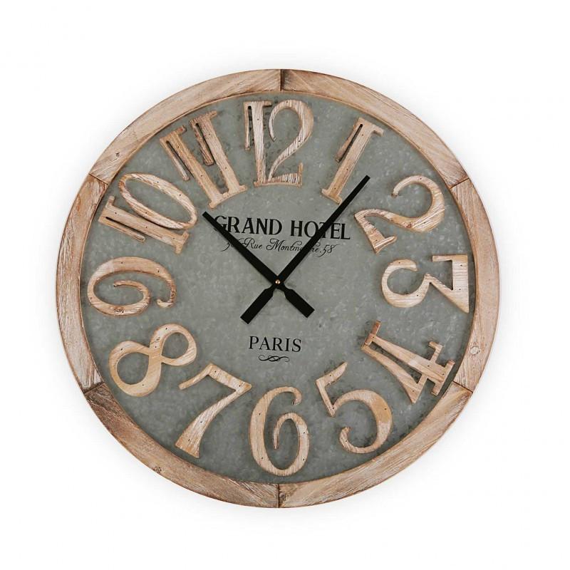 Reloj de pared de madera y metal 60 cm