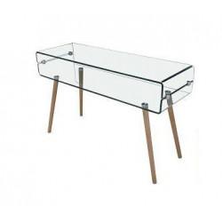 Consola de madera y cristal curvado de inspiración nórdica