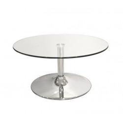 Mesa baja de centro redonda cristal/cromado