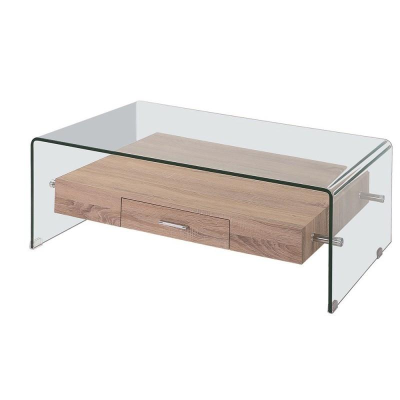 Mesa de centro de madera y cristal curvado