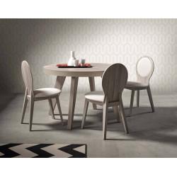 Mesa de comedor de estilo nórdico acabado roble redonda y extensible