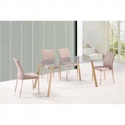 Mesa de comedor con tapa de cristal 150x90 cms