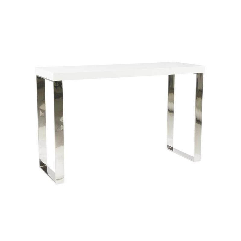 Consola minimalista inox y blanco brillo