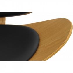 Sillón NORDIC-FNE Fresno tapizado en similpiel negra