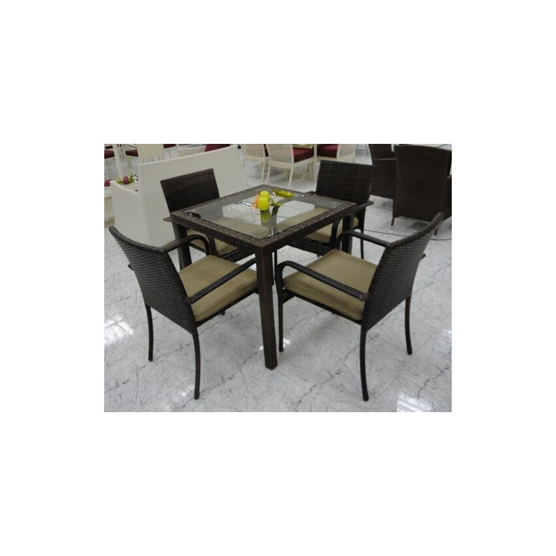 Set de jardin en aluminio y rat n sint tico color chocolate for Muebles de rattan sintetico en easy