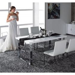 Mesa ANDROS, cromada, lacada blanca 150x90 cms