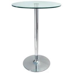 Mesa alta BERNIE con tapa de cristal de 60cms de diámetro.