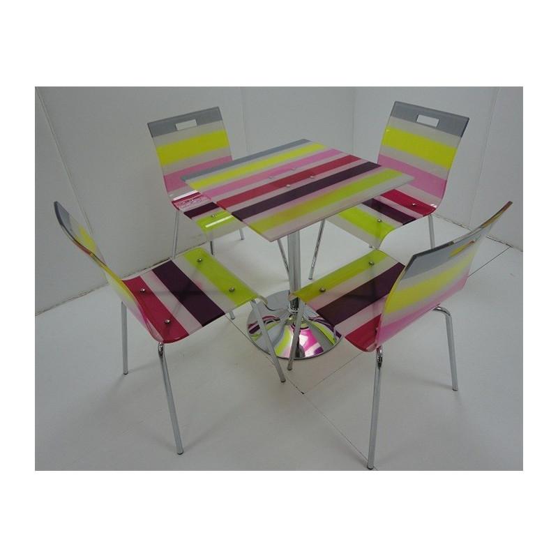 Pack de 4 sillas multicolor + mesa a juego.