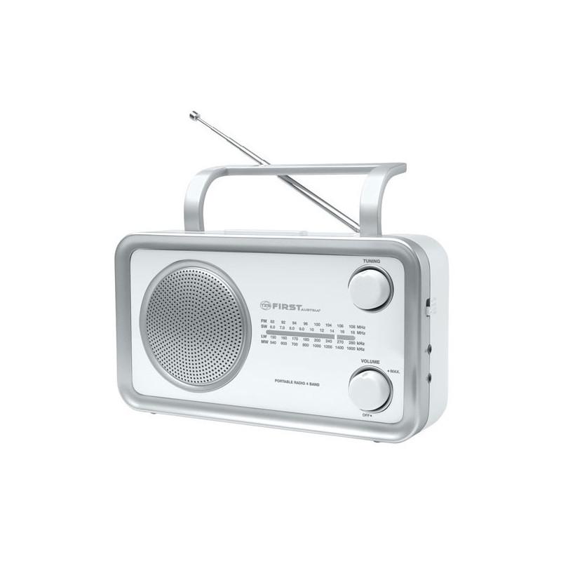 Radio tipo retro portatil en color plateado