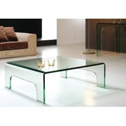 Mesa EVORA, baja, cuadrada, cristal curvado, 90x90 cms