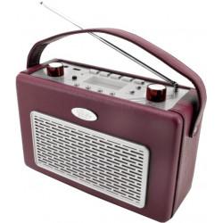 Radio AM/FM con USB recubierta de polipiel Rojo Burdeos