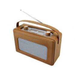 Radio analógica recubierta de piel sintética color marrón claro