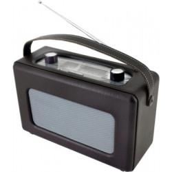 Radio analógica recubierta de piel sintética color negro