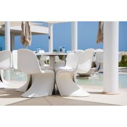 Silla estilo panton fabricada en abs mate color blanco