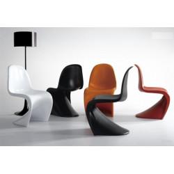 Silla estilo panton fabricada en abs mate color rojo