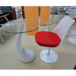 Mesa baja fabricada en abs blanco y cristal, 45 cms de diámetro